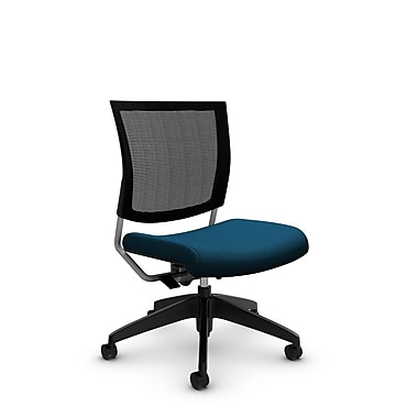 Global® (2736MB IM76) Graphic Mesh Posture Armless Chair, Imprint Navy Fabric, Blue