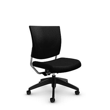 Global® (2737 MT32) Graphic Posture Armless Chair, Match Black Fabric, Black
