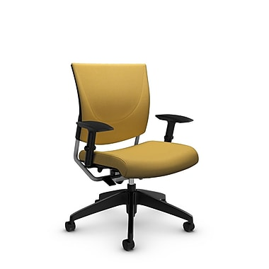 Global® (2739 IM73) Graphic Posture Chair, Imprint Currie Fabric, Yellow