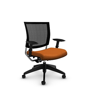 Global® (2738MB MT23) Graphic Mesh Posture Chair, Match Orange Fabric, Orange