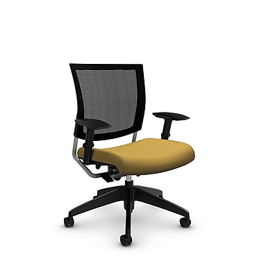 Global® (2738MB IM73) Graphic Mesh Posture Chair, Imprint Currie Fabric, Yellow