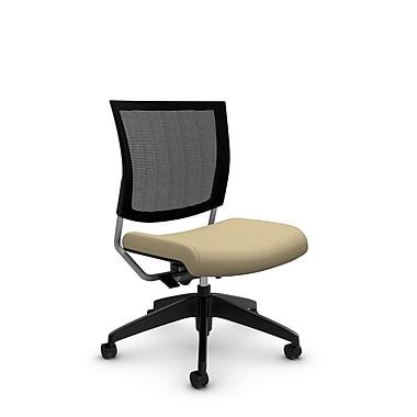 GlobalMD – Chaise sans bras spécialisée en maille Graphic (2736MB IM70), tissu imprimé amande, brun clair
