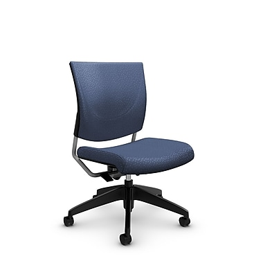 Global® (2737 MT25) Graphic Posture Armless Chair, Match Blue Fabric, Blue