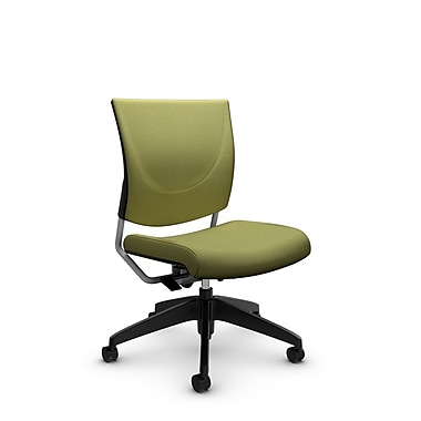 Global® (2737 IM78) Graphic Posture Armless Chair, Imprint Celery Fabric, Green