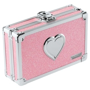 Vaultz® Pencil Box with Key Lock, Pink Bling with Heart (VZ00130)