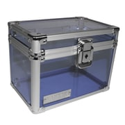 "Vaultz® Locking 4"" x 6"" Index Card Box, Blue Acrylic (VZ00207)"
