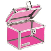"Vaultz® Locking 4"" x 6"" Index Card Box, Acrylic Pink (VZ00208)"