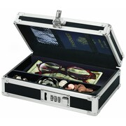 "Vaultz Locking Mini Cash Box with Tray, 2.75"" x 8.5"" x 5.5"", Black (VZ00304)"