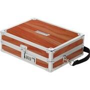"""Vaultz® Locking Wooden Sketch Box with Shoulder Strap, 3"""" x 9"""" x 7"""", Brown (VZ03439)"""