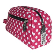 "Vaultz® Locking Nylon Travel Kit, 10"" x 5.75"" x 5"", Pink/White Polka Dots (VZ03512)"