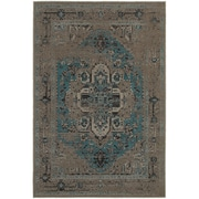 "StyleHaven Traditional Overdyed Polypropylene 6'7"" X 9'6"" Grey/Teal Area Rug (WREV4694E6X9L)"
