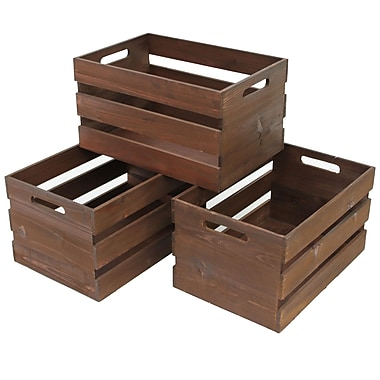 Cathay Importers Rustic Rect Wood Storage Crate, 15