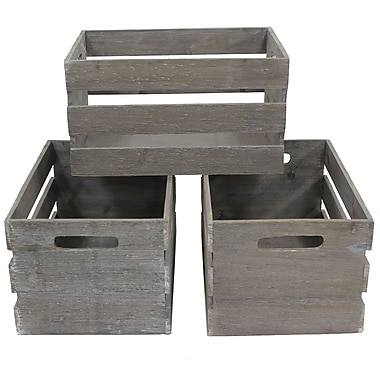 Cathay Importers Distressed Rect Wood Storage Crate, 15
