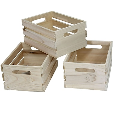 Cathay Importers Natural Rect Wood Storage Crate, 12