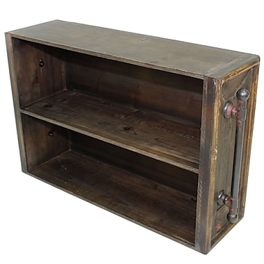 Cathay Importers 2-Tier Rustic Brown Wood Storage Wall Shelf w/Antique Decorative Metal Side Rails, 25.5