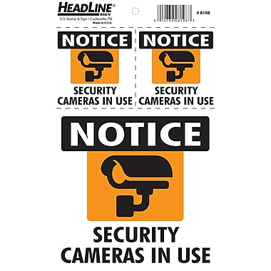 HeadLine Sign – Pancartes : Security Cameras in Use (8198), anglais