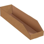 "Partners Brand Open Top Bin Boxes, 6"" x 24"" x 4 1/2"", Kraft, 50/Bundle (BINMT624K)"