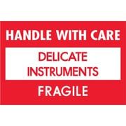 "Tape Logic® Fragile Labels, ""Delicate Instruments - HWC"", 2"" x 3"", Red/White, 500/Roll (DL1308)"