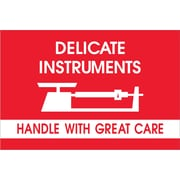 """Tape Logic® Fragile Labels, """"Delicate Instruments - HWC"""", 2"""" x 3"""", Red/White, 500/Roll (DL1309)"""