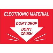 "Tape Logic® Labels, ""Don't Drop Don't Crush - Electronic Material"", 2"" x 3"", Red/White, 500/Roll (DL1314)"