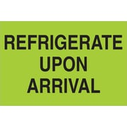 "Tape Logic® Climate Labels, "" ""Refrigerate Upon Arrival"", 2"" x 3"", Fluorescent Green, 500/Roll (DL1327)"