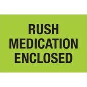 "Tape Logic® Labels, ""Rush - Medication Enclosed"", Fluorescent Green, 500/Roll (DL1336)"