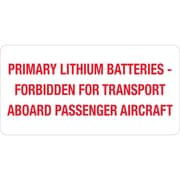 """Tape Logic® Labels, """"Primary Lithium Batteries"""", 2"""" x 4"""", Red/White, 500/Roll (DL1375)"""