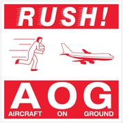 """Tape Logic® Labels, """"Rush AOG - Aircraft On Ground"""", 4"""" x 4"""", Red/White, 500/Roll (DL1376)"""
