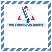 "Tape Logic® ""Time And Temperature Sensitive"" Labels, ""4 1/4"" x 4 1/4"", Red/Blue, 500/Roll (DL1394)"