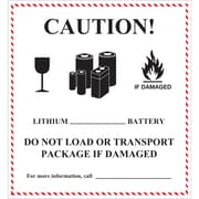 "Tape Logic® Labels, ""Caution - Lithium Battery Handling"", 4 5/8"" x 5"", Black/White/Red, 500/Roll (DL1397)"