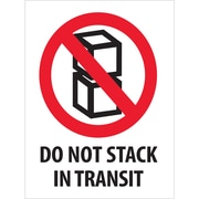"Tape Logic® Labels, ""Do Not Stack In Transit"", 3"" x 4"", Red/White/Black, 500/Roll (DL2150)"