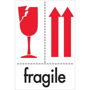 "Tape Logic® Labels, ""Fragile"", 4"" x 6"", Red/White/Black, 500/Roll (DL2151)"