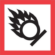 """Tape Logic® Pictogram Labels, """"Flame Over Circle, 2"""" x 2"""", Red/White/Black, 500/Roll (DL4246)"""