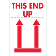 "Tape Logic® Labels, ""This End Up"", 2"" x 3"", Red/White, 500/Roll (DL5154)"