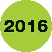 "Tape Logic® Year Labels, ""2016"", 2"" Circle, Fluorescent Green, 500/Roll (DL6810)"