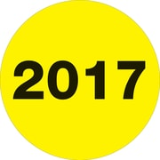 """Tape Logic® Year Labels, """"2017"""", 2"""" Circle, Fluorescent Yellow, 500/Roll (DL6812)"""
