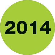 "Tape Logic® Year Labels, ""2014, 3"" Circle, Fluorescent Green, 500/Roll (DL6799)"