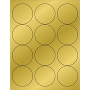 """Tape Logic® Foil Circle Laser Labels, 2 1/2"""", Gold, 1200/Case (LL217GD)"""