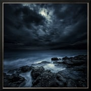 "Art.com  'Black Rocks Protruding Through Rough Seas with Stormy Clouds, Crete, Greece' 26"" x 26"" Print (13370922)"