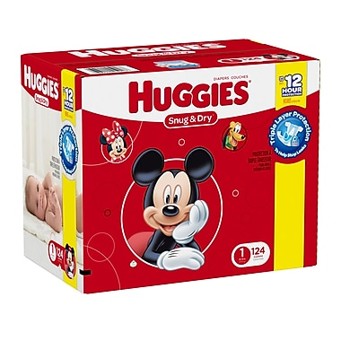 Huggies - Couches Snug and Dry Diapers Giga Jr. Step 1, bte/124 couches, (45916)