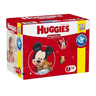Huggies - Couches Snug and Dry Diapers Giga Jr. Step 1, bte/116 couches, (45917)