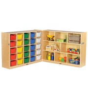 "ECR4Kids Fold and Lock 25 Tray Cabinet with 36"" Storage- AS (ELR-17218-AS)"