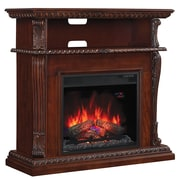 Bell'O Corinth Wall or Corner TV Stand for TVs up to 47 Inch with 23 Inch Electric Fireplace, Vintage Cherry  (69798)