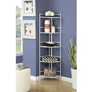 Convenience Concepts Designs2Go Media Towers 5 Tier Folding Metal Corner Shelf White Finish (8021W)