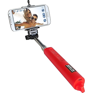 Digital Treasures Selfie Shoot N Share Extendable Monopod, Wireless Remote, Red, (09904-PG)
