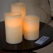 Lavish Home 3 Piece LED Flameless Candle Set with Remote (72-0030W)