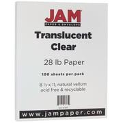 JAM Paper® Translucent Vellum Paper, 8.5 x 11, 28lb Clear, 100/pack (1263)