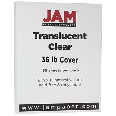 JAM Paper® Translucent Vellum Cardstock, 8.5 x 11, 36lb Clear, 50/Pack (1566)