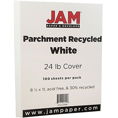 JAM Paper® Parchment Paper, 8.5 x 11, 24lb White Recycled, 100/pack (27010)