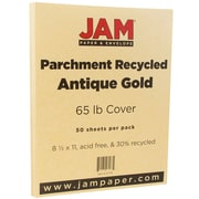 JAM Paper® Parchment Cardstock, 8.5 x 11, 65lb Antique Gold Yellow Recycled, 50/pack (27179)